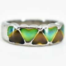 Heart Shape Multi-Color Changing Contrasting Silver Painted Mood Ring image 3