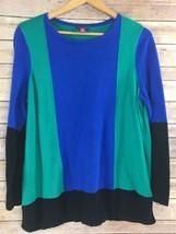 Vince Camuto Sweater 1X Womens Color Block Blue Green Black Cotton Blend - $17.79