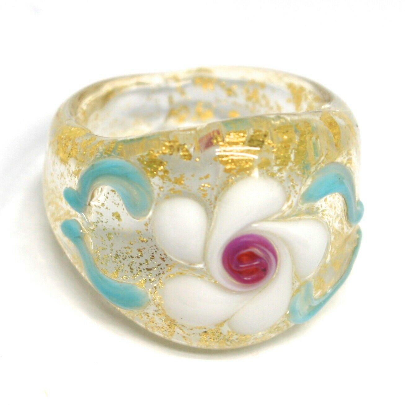Ring Antique Murrina, Murano Glass, Flower, Wave, Leaf Golden, Band