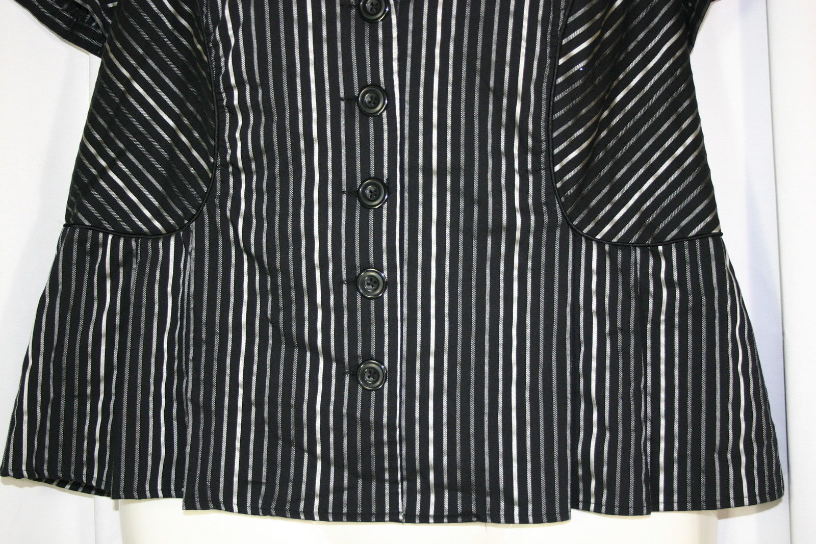 4f4dedc9 LANE BRYANT Plus 14/16 Black Gray Striped Button Front Short Sleeve Shirt  Top