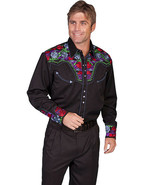 Men's Western Shirt Long Sleeve Rockabilly Country Cowboy Black Floral - $87.38