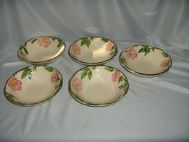 5 Vintage Coupe Cereal Bowls Franciscan China Stoneware Desert Rose USA ... - $64.35