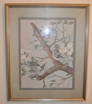 Vintage BASIL EDE FRAMED Print 23 x 19 White Breasted Nuthatches - $93.49