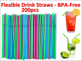 NEW 200pc Multi Color BPA-Free Flexible Drink Straws for Parties / Picnics - $10.26