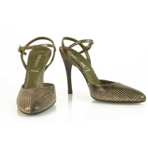 Prada Brown Snakeskin Leather Mary Janes Ankle Strap Heels pumps shoes size 36 - $167.31
