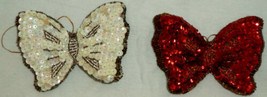 Christmas Ornament Butterfly Sequins Padded - $10.48