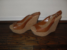 Jessica S impson Brown Open Toe Heels Wedges   Medium ( B,M )  10 - $44.45