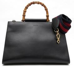 GUCCI Black Leather Bag Tote Bamboo Top Handle Web Shoulder Strap - $2,470.00