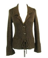 J. JILL Size S Brown  Copper Shimmer Button Down Sweater Bell Sleeves - $15.99