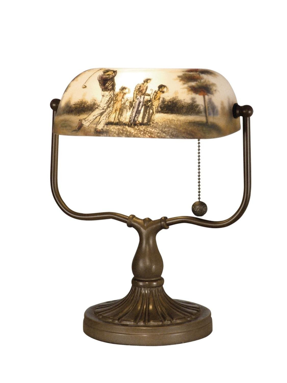 "13.25"" Antique Bronze Beige Golf Handale Hand Painted Art Glass Accent Lamp"