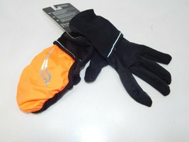Saucony Ulti-Mitt Size L Large Convertible Pocket Thermal Running Gloves Orange