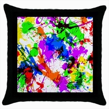 Throw pillow case abstract paint stains white background - $19.50