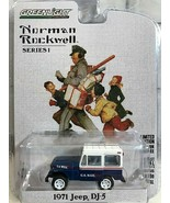 Norman Rockwell 1971 Jeep DJ 5 Blue White Diecast Mail Truck Greenlight New 2018 - $12.86