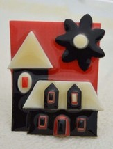 Vintage HOUSE PINS BY LUCINDA Mixed Materials House Flower Pin Brooch - $26.73