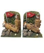 "Set of 2 Golf Bag Eighteenth Hole Theme Bookends/Doorstop 3D Resin 4""W x... - $14.80"