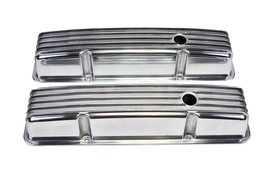 SBC Chevy 283 327 350 400 Tall Finned Polished Aluminum Valve Covers 58-86