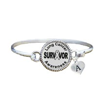 Custom Lung Cancer Survivor Silver Bangle Bracelet Jewelry Choose Initial Family - $13.80+
