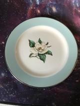 Homer Laughlin Lifetime China Co Semi Vitreous Turquoise Magnolia Dessert Plate - $9.46