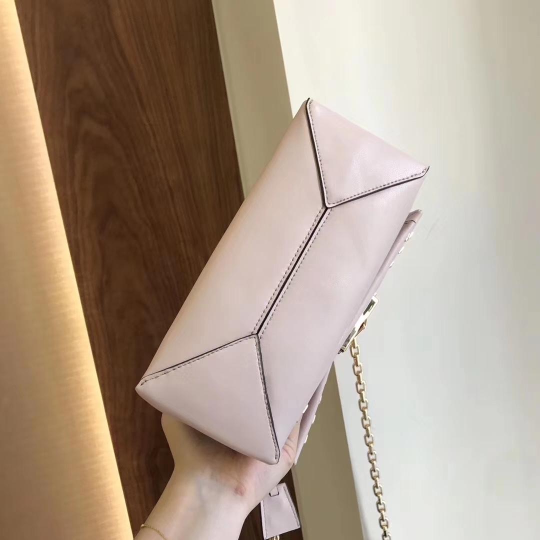 Michael Kors Cece Studded Leather Chain Shoulder Bag Pink Auth