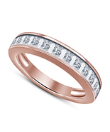 Rose Gold Plated 925 Sterling Silver Princess White CZ Engagement Weddin... - $56.33