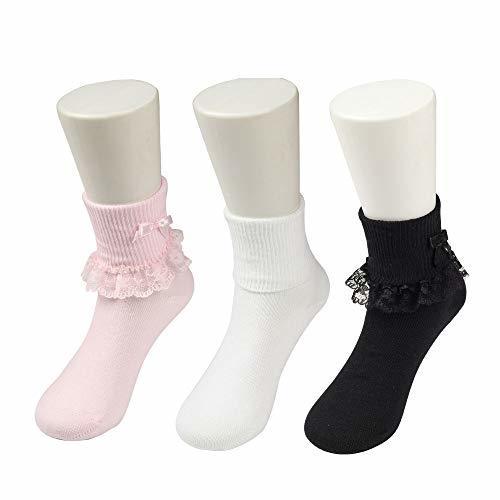 COTTON DAY 3 Pairs Toddler Baby & (M: Shoe Size 10-13|Pink White Black) image 2