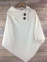 Le Moda White Poncho Fleece Ribbed One Size 2 Button NWT - $23.73
