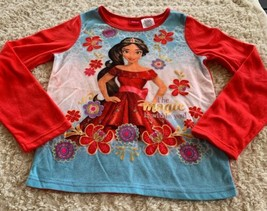 Disney Girls Elena Of Avalor Magic Red Blue Fleece Long Sleeve Pajama Sh... - $5.48