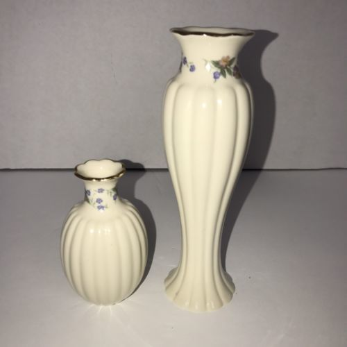 Lenox Vases Floral Print Off White And Various Coloring Set Of Two 2