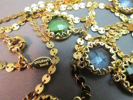 """Robert Verdi Bezel Set Crystal Necklace Gold Plated Links 46"""" Cushion Designer image 7"""
