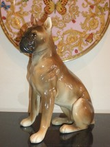 "VINTAGE AUSTRIA WIEN GLORIETTE KERAMIK PORCELAIN BOXER DOG FIGURINE 9.5""... - $149.00"