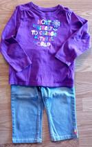 Girl's Size 5 Purple Floral Designed OD L/S Top & NWT Denim Gymboree Cap... - $20.00