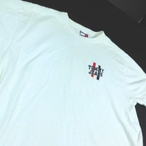 Tommy Jeans White T-Shirt Sz L Felt Logo Hilfiger Large H Logo - $39.99