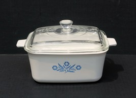 CORNING Blue Cornflower 1.5 Qt Casserole Loaf Baking w/lid P-4-B Buffet Server - $44.99