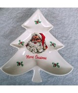 White Christmas Tree Dish Plate Santa Claus Serving Platter Holiday Vintage - $24.75
