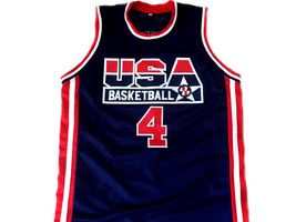 Christian Laettner #4 Team USA Basketball Jersey Navy Blue Any Size image 4
