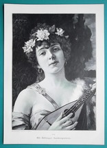EASTERN BEAUTY Playing Lute - VICTORIAN Era Engraving Print - $21.60