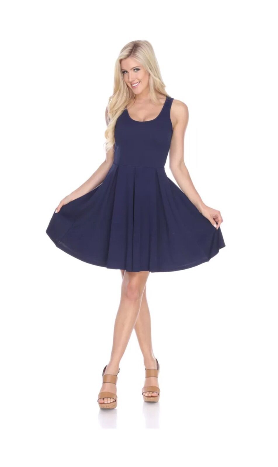 NEW White Mark Fit and Flare Dress Sleeveless Med M  Navy Blue
