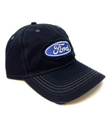 SOLID BLACK FORD LOGO RIPPED PATCH ADJUSTABLE CURVED BILL HAT RETRO SLOUCH TORN - $22.75