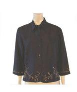 NWT $110 Ice Black Silk Beaded Jacket Top  - $30.00