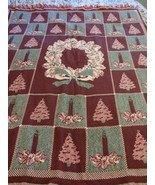 FIELDCREST COTTON THROW Wreath CHRISTMAS TREES AND CANDLES BLANKET 50X60 - $42.08