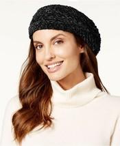 Charter Club Velvet Solid Chenille Beret Black One Size Winter Hat -$29.... - $9.99