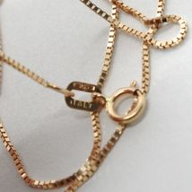 18K ROSE GOLD CHAIN MINI 0.8 MM VENETIAN SQUARE LINK 19.7 INCHES MADE IN ITALY image 3