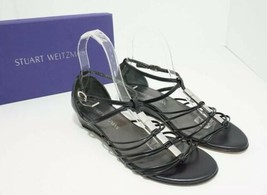 Stuart Weitzman Lowlight Ankle Strap Low Heel Wedge Sandal Black US 7.5 W - $93.23
