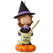 Sweet Trick-or-Treater Witch 2017 Hallmark Halloween Ornament  Pumpkin B... - $18.80