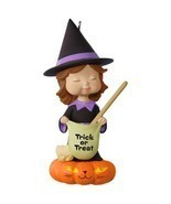 Sweet Trick-or-Treater Witch 2017 Hallmark Halloween Ornament  Pumpkin B... - £14.96 GBP