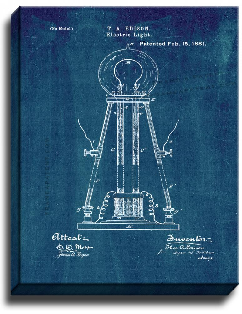 Primary image for Electric Light Patent Print Midnight Blue on Canvas