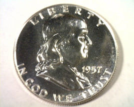 1957 FRANKLIN HALF DOLLAR GEM PROOF GEM PR NICE ORIGINAL COIN FROM BOBS ... - $29.00