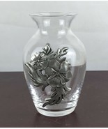 Holly Sue Small  Glass Vase With Metal Decor - $9.50