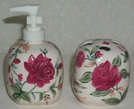 Longaberger Soap Dispenser and Toothbrush Holder in Heirloom Floral - $19.55