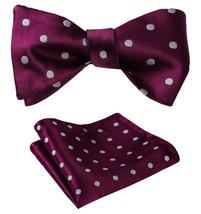 SetSense Men's Polka Dot Jacquard Woven Self Bow Tie Set One Size Burgundy / Gra - $27.00
